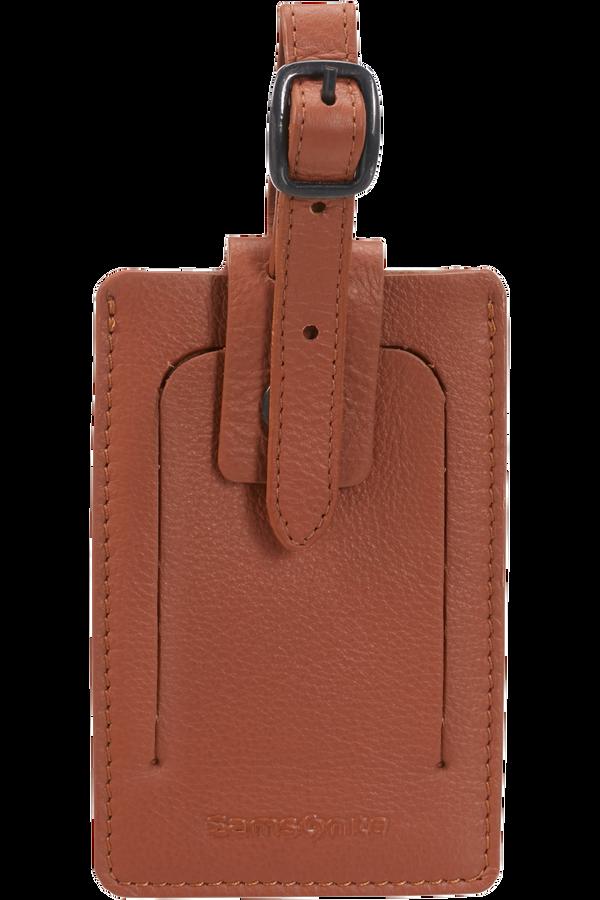 Samsonite Global Ta ID Leather Luggage Tag Koňaková hnědá